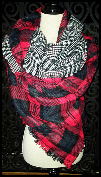 Herringbone & Plaid Reversible Scarf