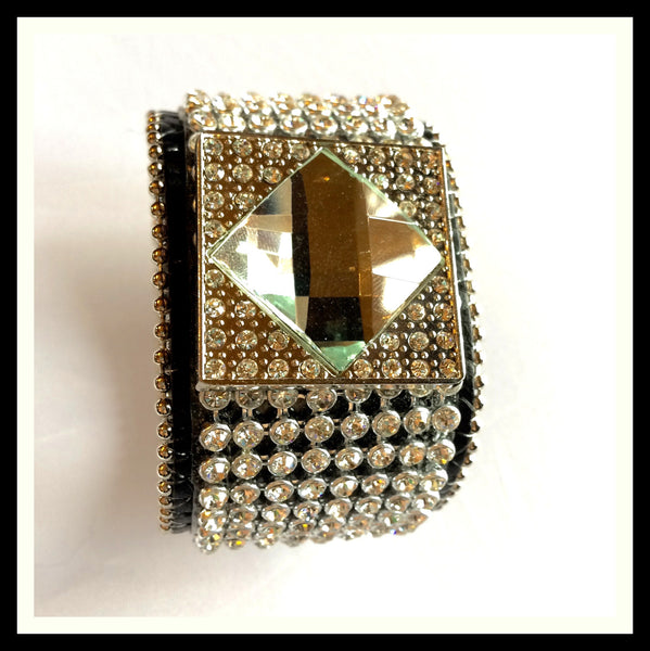 Genuine Leather Crystal & Rhinestone Bracelet