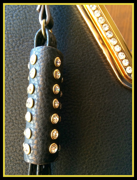 Black Handbag with Rhinestones/Tassel