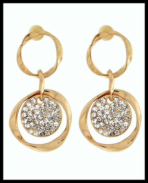 Gold & Rhinestone Dangle Earrings