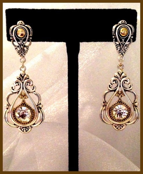 Ornate Silver & Bronze Earrings