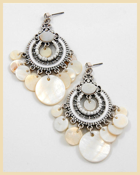 Silver White Shell Earrings
