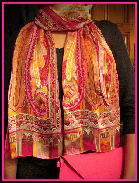 Pink Patterned Silk Scarf