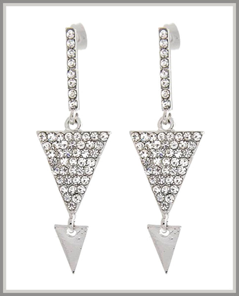 Rhodiumized, Clear Rhinestone Earrings