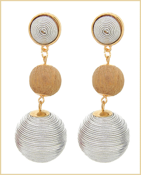 Silver Thread Ball Dangle Earrings
