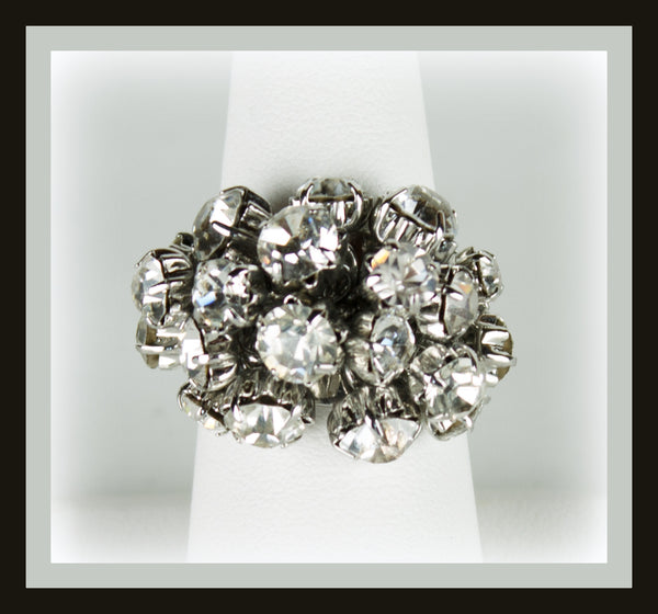Silver Crystal Cluster Ring