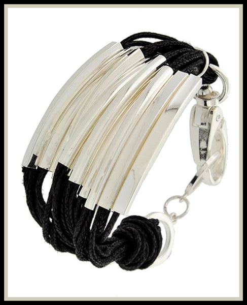 Multi-Row, Rhodiumized & Black Cord Bracelet
