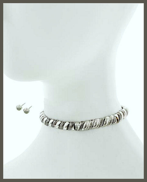 Antique Silver Choker Style Necklace