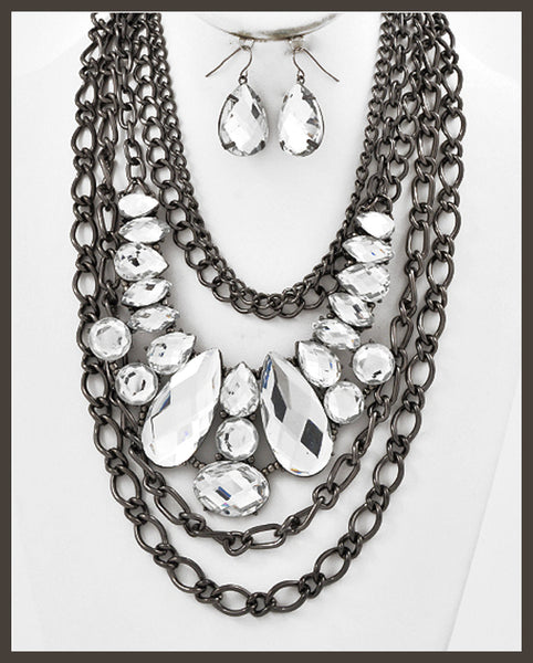 Multi-Strand, Black Nickel Necklace