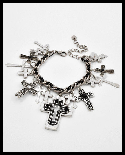 Silver & Black Multi-Cross Bracelet
