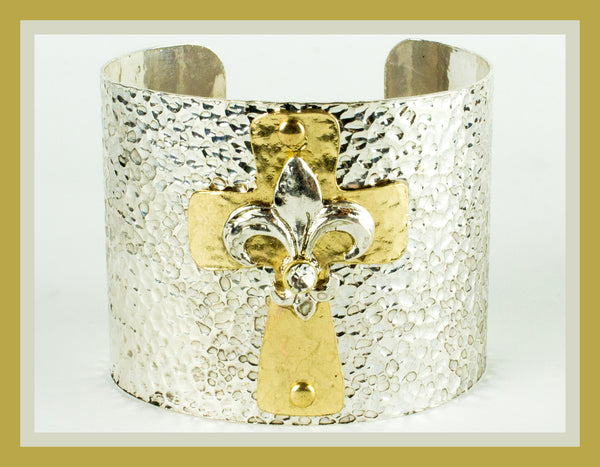 Silver Cuff with Gold Cross