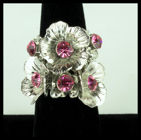 Silver Flower Ring with Pink Stones