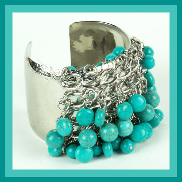 Silver Cuff Bracelet with Turquoise Stones