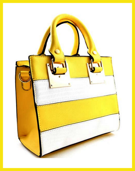 Mini Yellow & White Crocodile Embossed Striped Satchel