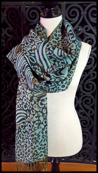 Teal Blue & Black Pashmina Scarf