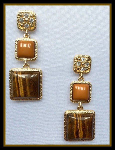 Tiger's Eye & Rhinestone Earrings