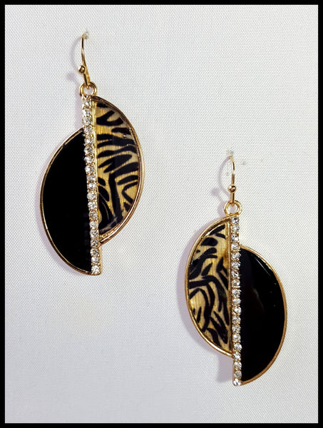 Black & Tiger Print Earrings