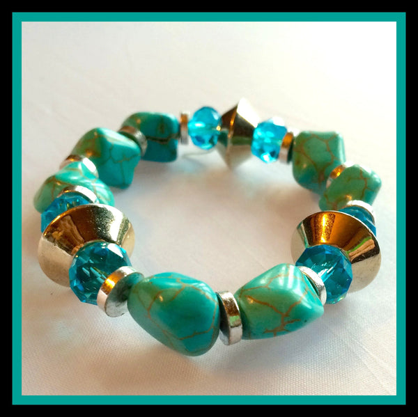 Turquoise/Silver Stretch Bracelet