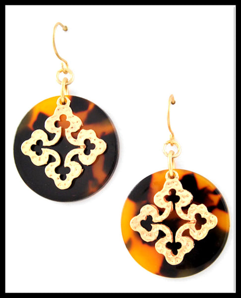 Tortoise & Gold Cross Earrings