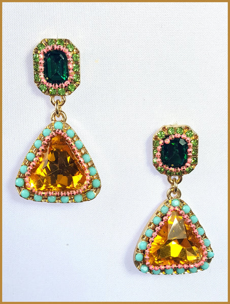 Orange, Green & Turquoise Beaded Earrings
