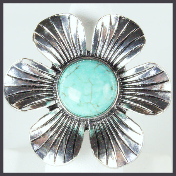 Silver Flower Ring with Turquoise Center