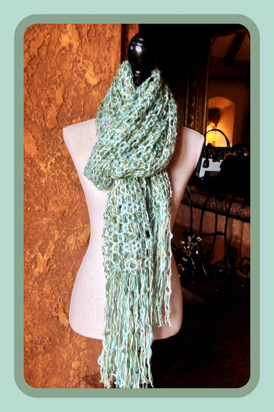 Green & Turquoise Knit Scarf