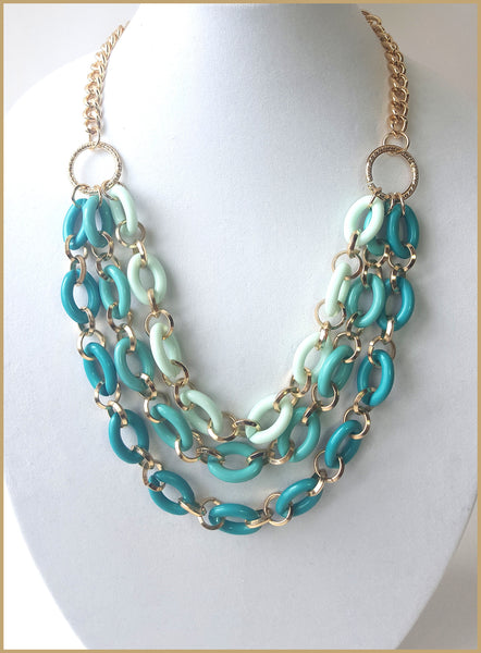 Triple Strand Teal Necklace