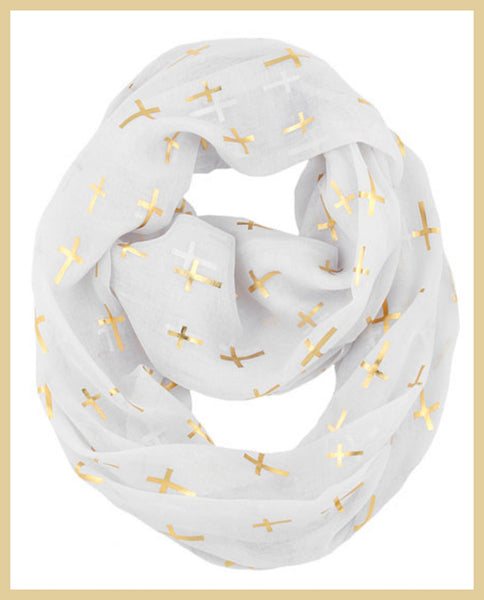 White/Gold Cross Print Infinity Scarf