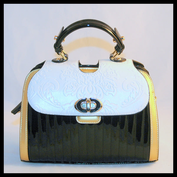 Metallic Gold, Black & White Engraved Satchel