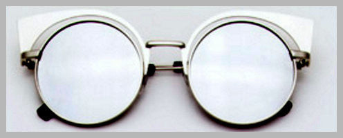 Rhodium, Round, Cat Eye Sunglasses