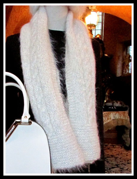 White Hand Knit Scarf