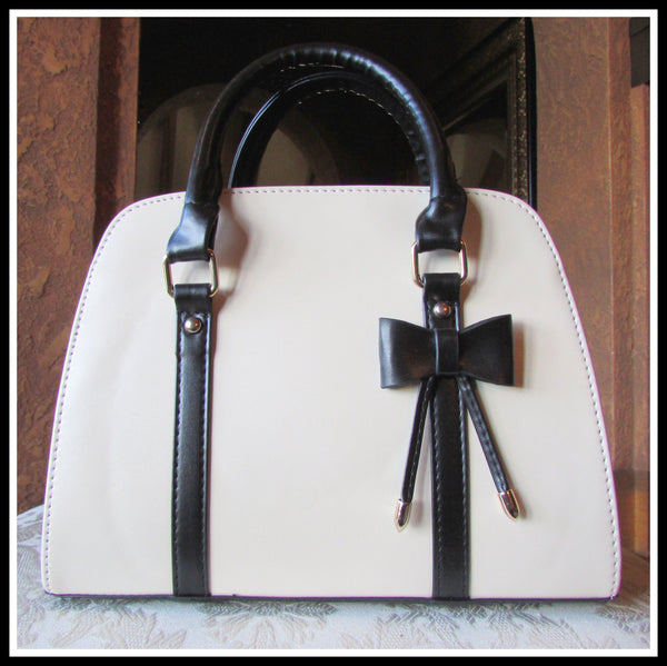 Off-White/Black Bow Handbag