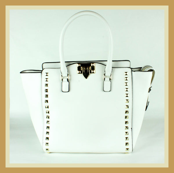 White Studded Tote
