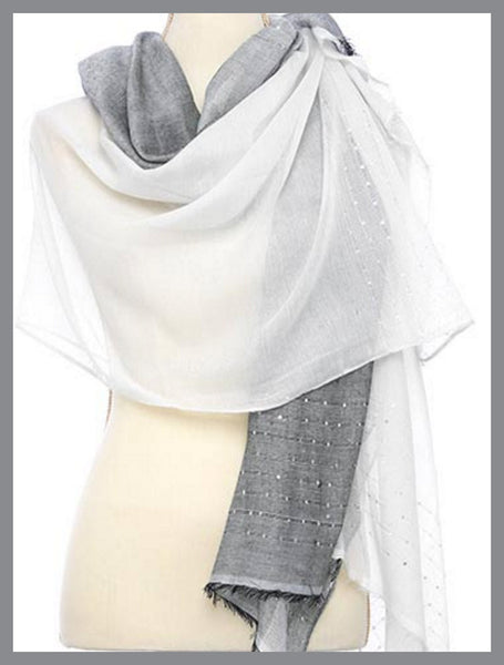 Two-Tone, Ivory & Grey, Sparkle Scarf
