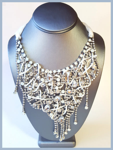 White Crystal & Ribbon Necklace