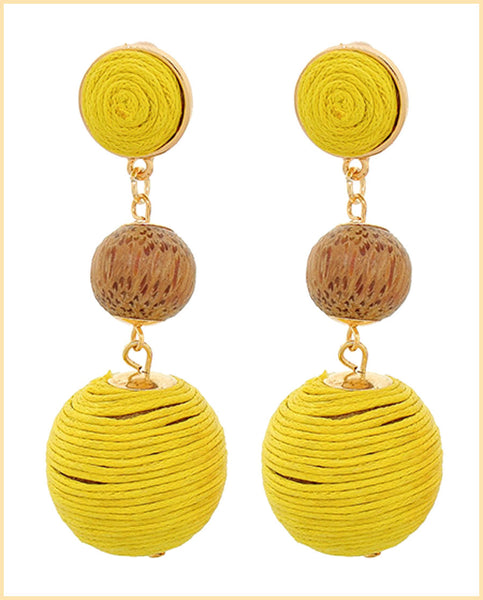Yellow Thread Ball Dangle Earrings