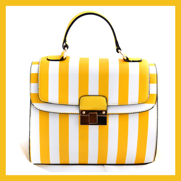 Yellow/White Striped Satchel