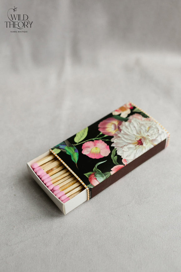 Stylish Wooden Stick Matches – Peony pattern