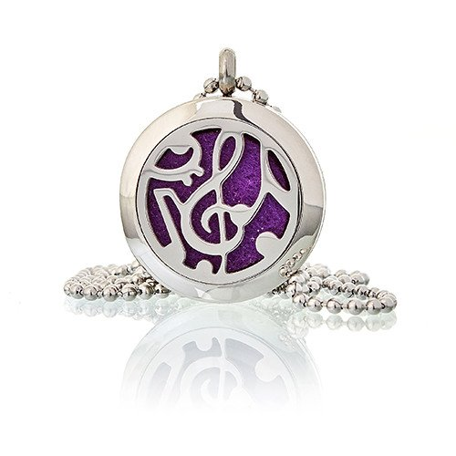 Aromatherapy Diffuser Necklace - Music Notes 25mm - Enchanted Gifts by Karen