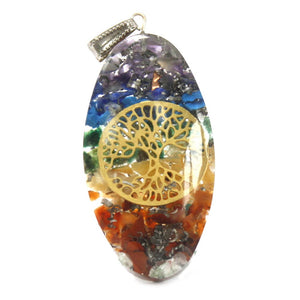 Orgonite Power Pendant - 7 Stone Chakra Oval with Tree - Enchanted Gifts by Karen