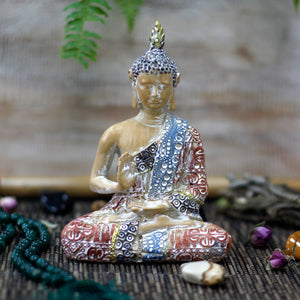 Thai Buddha - Protection - Terracotta & Sky Blue 15 cm - Enchanted Gifts by Karen