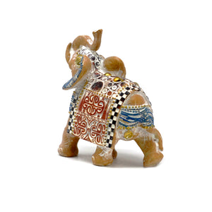 Thai Elephant - Good Luck - Terracotta & Sky Blue 11 cm - Enchanted Gifts by Karen