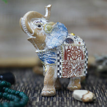 Load image into Gallery viewer, Thai Elephant - Good Luck - Terracotta & Sky Blue 11 cm - Enchanted Gifts by Karen