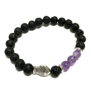 Lava Stone Bracelet - Fish Amethyst - Enchanted Gifts by Karen