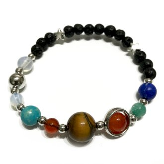 Lava Stone Bracelet - Silver Solar System - Enchanted Gifts by Karen