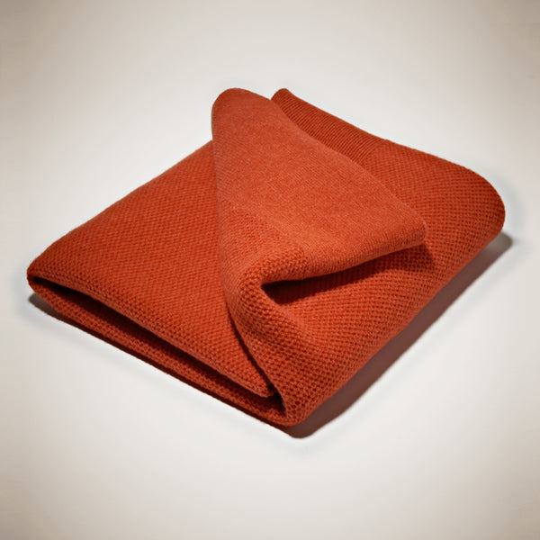 Lambswool Mini Chunky Throw - Burnt Orange