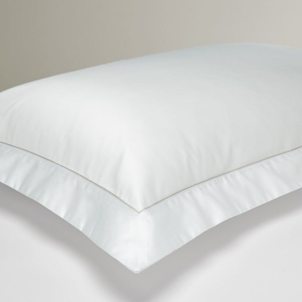 'Classic' Oxford Pillowcase – White with Grosgrain Trim - Josephine Home