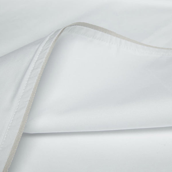 The Draper London Duvet Cover - White with Grosgrain Trim - Josephine Home