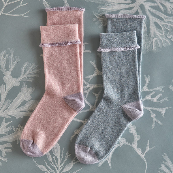 Women's Cashmere Socks – Blossom with lavender detail