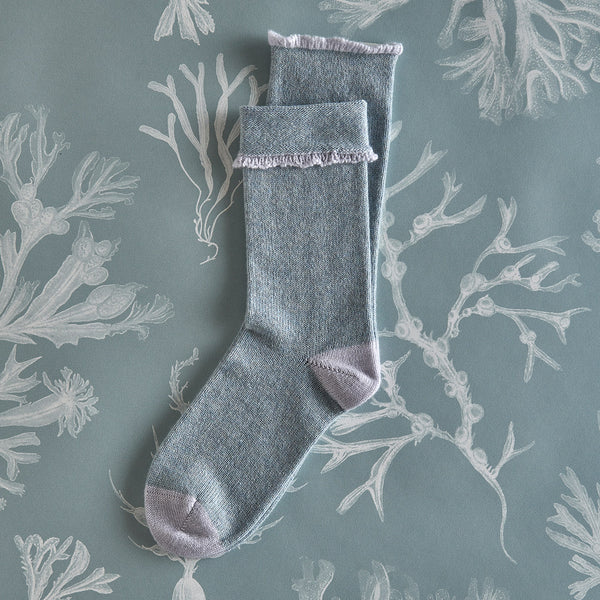 Women's Cashmere Socks – Mist with soft grey detail